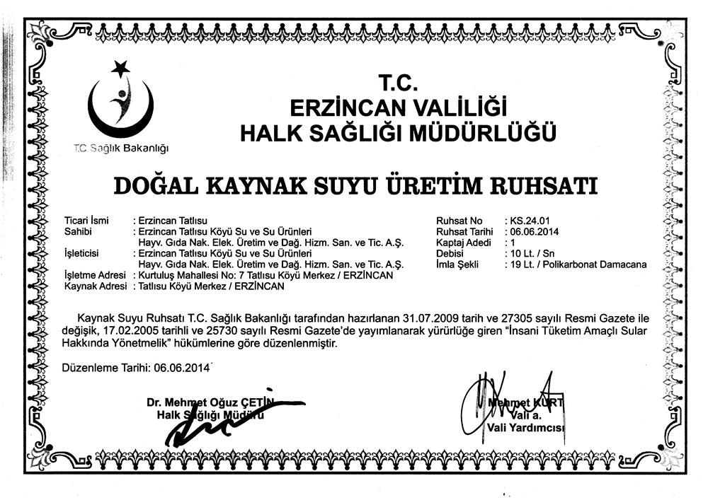 Erzincan Valiliği su izin belgesi